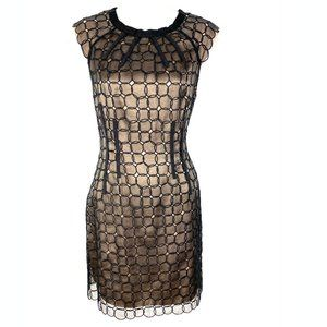 BCBGMaxAzria black nude dress lace cocktail party